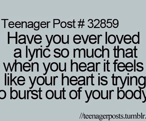Lyrics, teenager post, and music image