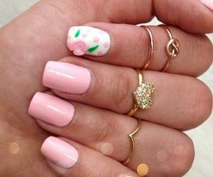 nails, midi rings, and cute image
