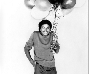 michael jackson, balloons, and black and white image