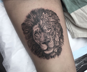 arm tattoo, black and white, and detailed image