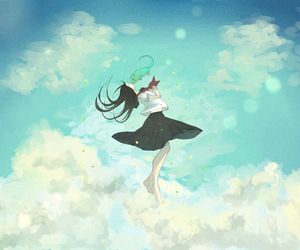 anime, art, and clouds image