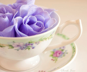 cup, flowers, and rose image