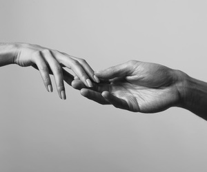 black and white, man, and hands image