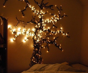 light, tree, and bedroom image