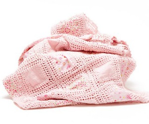 blanket, crocheting, and pink image