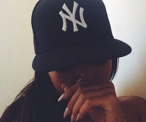 girl, nails, and cap image