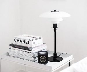 chanel, white, and lamp image