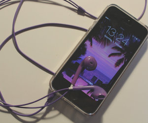 headphones, iphone, and palmtrees image