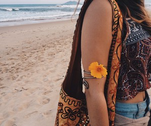 beach, hippie, and flowers image