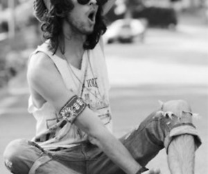 black and white, beenie, and hippie image