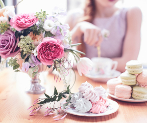 party, cake, and flowers image