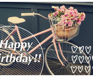 bike, flowers, and happy birthday image