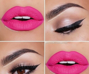 pink, lips, and makeup image