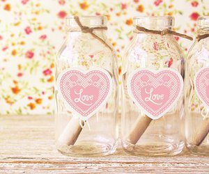 love, pink, and bottle image