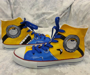 minion, painted shoes, and custom converse image