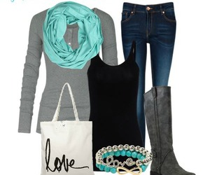 outfit, blue, and boots image