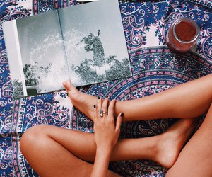 book, girl, and hippie image