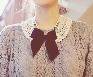 fashion, bow, and sweater image