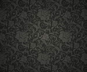 black, damask, and floral image