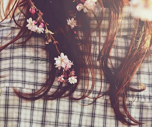 flowers, hair, and vintage image