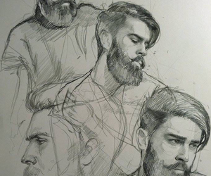 art, b&w, and beard image