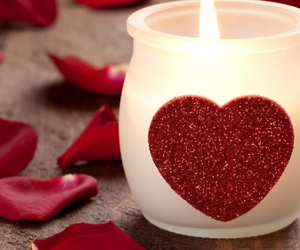 love, candle, and heart image
