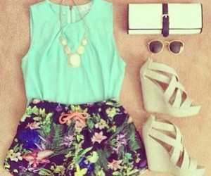 accessories, floral, and wedges image