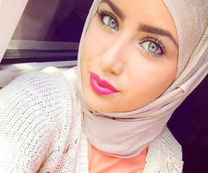 blue, eyes, and hijab image