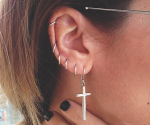 cross, piercing, and earrings image