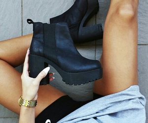beauty, girl, and black boots image