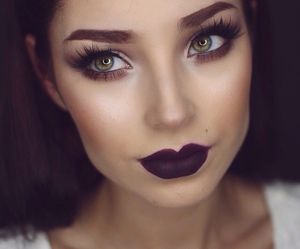 girl, makeup, and green eyes image