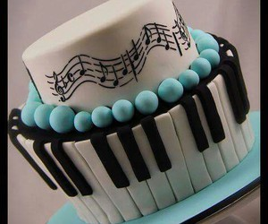 cake, piano, and food image