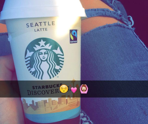 jeans, smile, and starbucks image