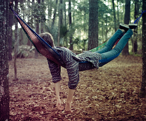 forest, sweater, and hammock image