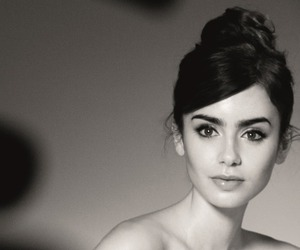 lily collins, black and white, and beauty image