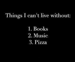 book, music, and pizza image