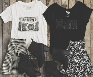 outfit, boots, and grunge image