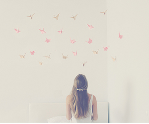girl, origami, and pretty image