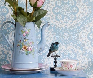 blue, flowers, and vintage image