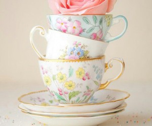 rose, cup, and flowers image