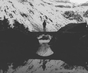 mountains, snow, and black and white image
