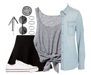 black skirt, necklace, and outfits image