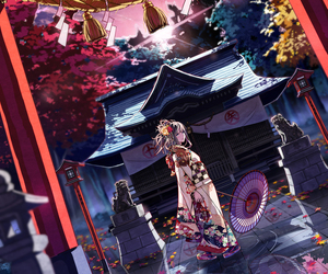 kimono, anime, and girl image