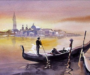 italy, painting, and venice image
