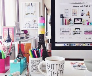 room, desk, and coffee image