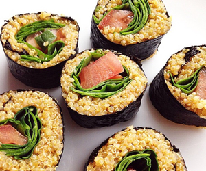 healthy, salmon, and sushi image