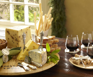 cheese, table, and wine image