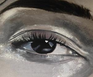 art, eye, and grey image
