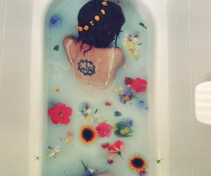 bath, floral, and water image