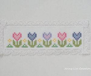 bookmark, cross stitch, and heart bookmark image